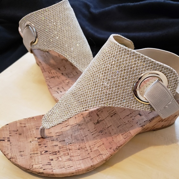 White Mountain Shoes - Gold wedges with cork bottom.